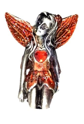 Red Winged Ruby Birthstone Fairy Ornament - July