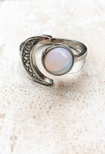 Opalite & Moon 925 Sterling Silver Ring - Adjustable Size