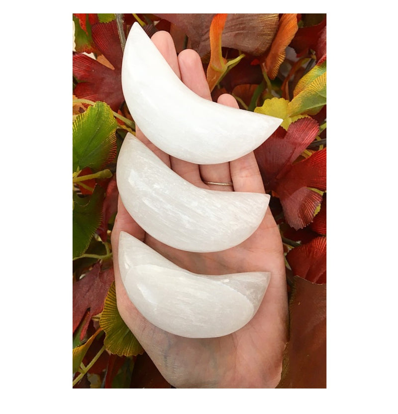 Selenite Hand Carved Crescent Moon