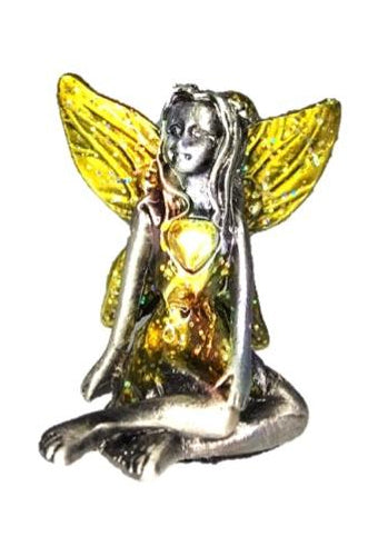 Yellow Winged Yellow Topaz Birthstone Fairy Ornament - November