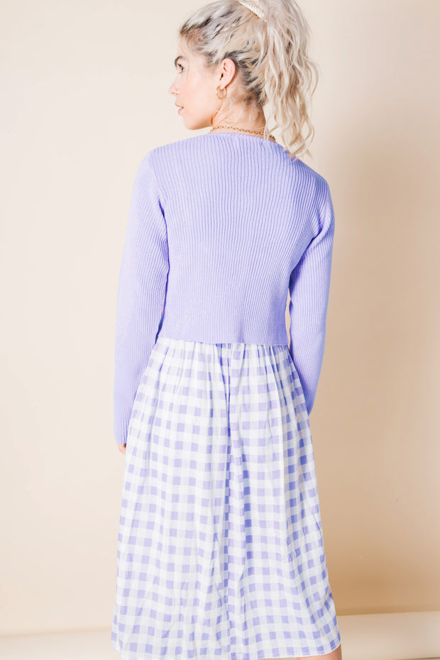 Daisy Street 90's Cropped Cardigan in Lilac