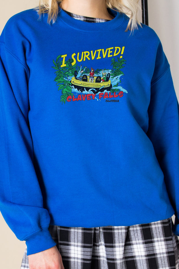 Daisy Street Oversized Sweatshirt with I Survived Print