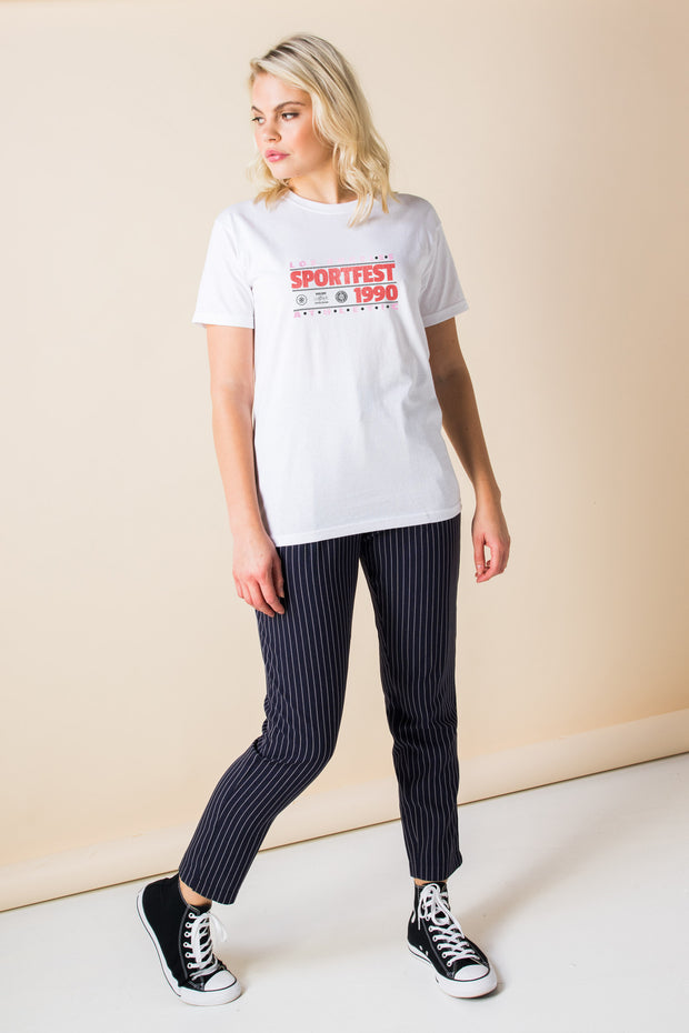 Daisy Street Relaxed T-Shirt with Sportsfest Print