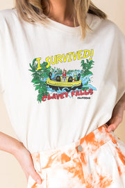 Daisy Street Relaxed T-Shirt with I Survived Print
