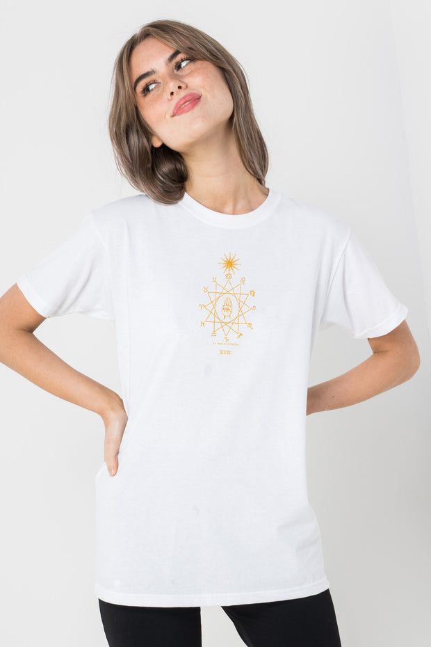Daisy Street Relaxed T-Shirt with Golden Tarot Print