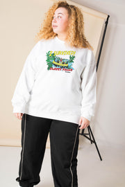 Daisy Street Curve Oversized Sweatshirt with I Survived Print