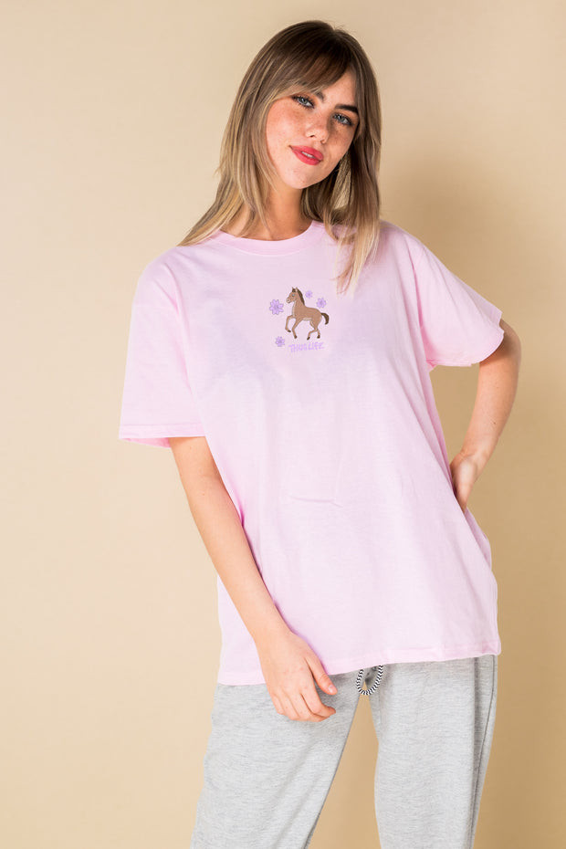 Daisy Street Relaxed T-Shirt with Thug Life Pony Print