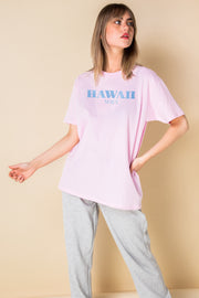 Daisy Street Relaxed T-Shirt with Hawaii Print