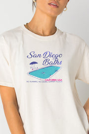 Daisy Street Relaxed T-Shirt with San Diego Baths Print