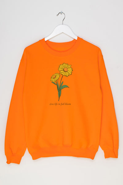 Daisy Street Oversized Sweatshirt with Live Life in full Bloom Print