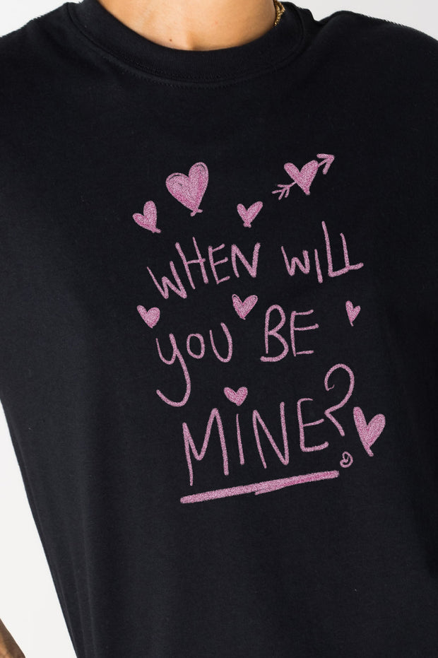 Daisy Street Relaxed T-Shirt with When Will You Be Mine Print