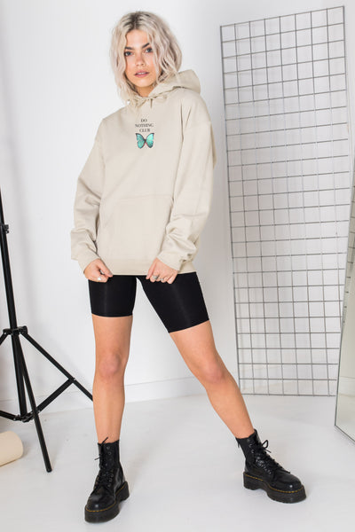 Daisy Street Oversized Hoodie with Do Nothing Club Print