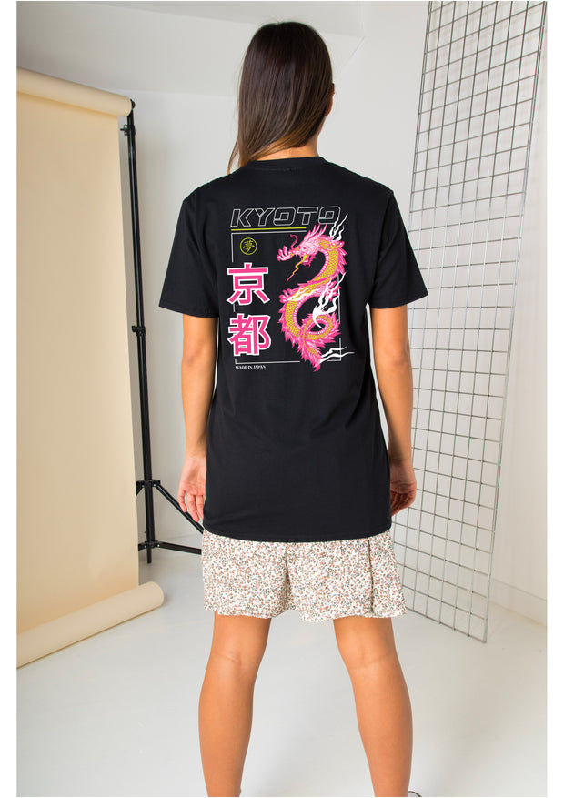 Daisy Street Relaxed T-Shirt with Dragon Back Print