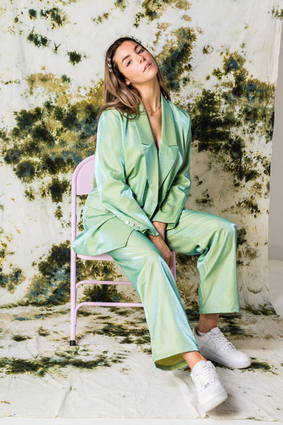 Daisy Street Relaxed Straight Trousers Co-ord in Iridescent Green