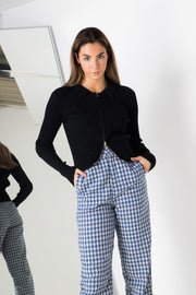 Daisy Street Tailored Tousers in Grey and Blue Check