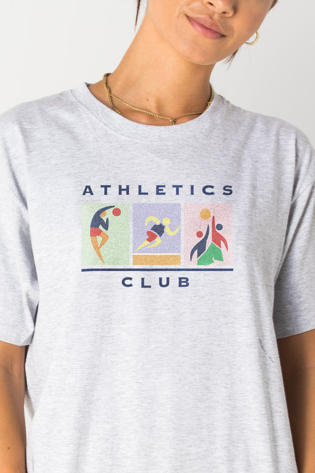 Daisy Street Relaxed T-Shirt with Athletics Club Print
