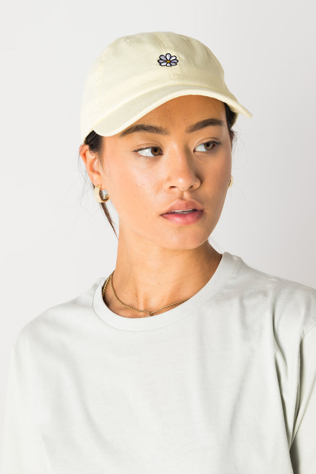 Daisy Street Denim Look Baseball Cap with Daisy Embroidery