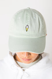 Daisy Street Sage Green Baseball Cap with Ice Cream Embroidery
