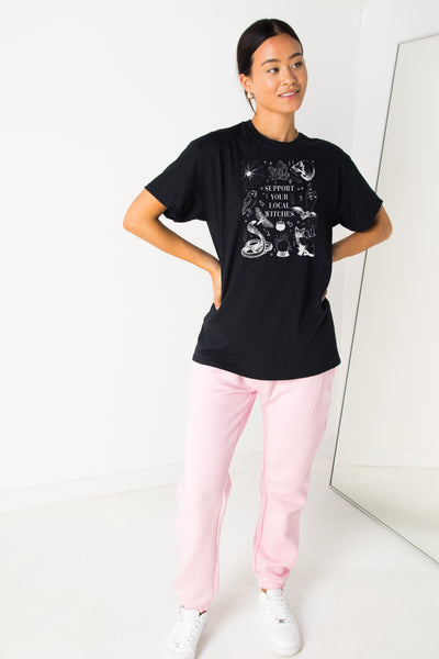 Daisy Street Relaxed T-Shirt with Halloween Witches Print