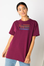 Daisy Street Relaxed T-Shirt with Tennis Tournament Print