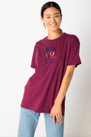 Daisy Street Relaxed T-Shirt with USA Athletic Games Print