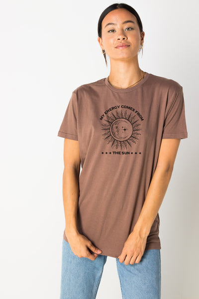 Daisy Street Relaxed T-Shirt with Energy from the Sun Print