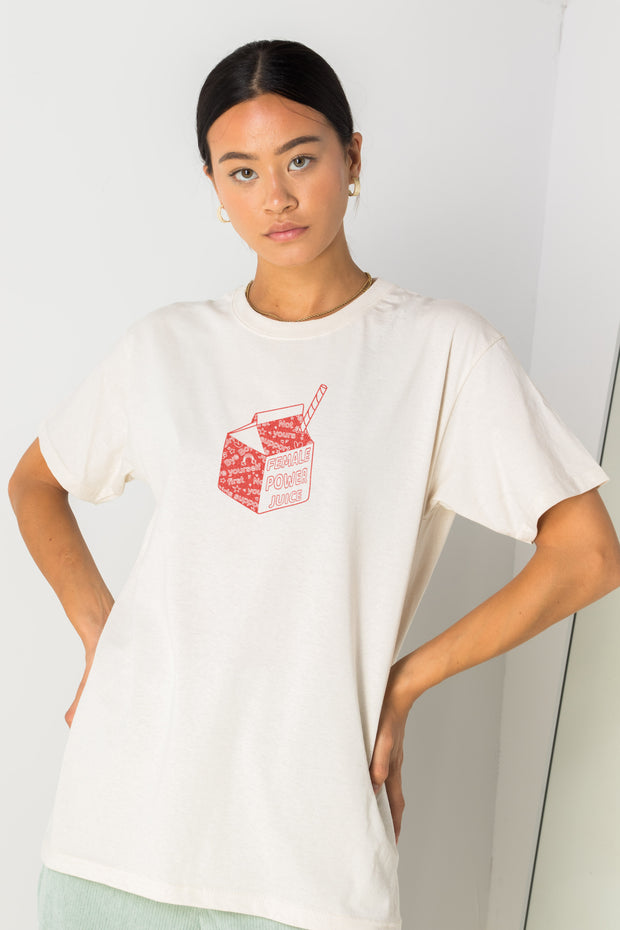 Daisy Street Relaxed T-Shirt with Female Power Juice Print