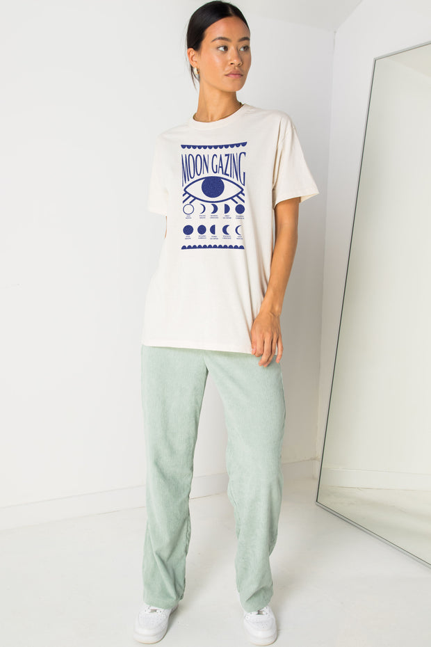 Daisy Street Relaxed T-Shirt with Moon Gazing Print