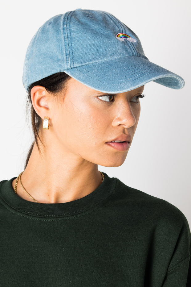 Daisy Street Denim Look Baseball Cap with Rainbow Embroidery