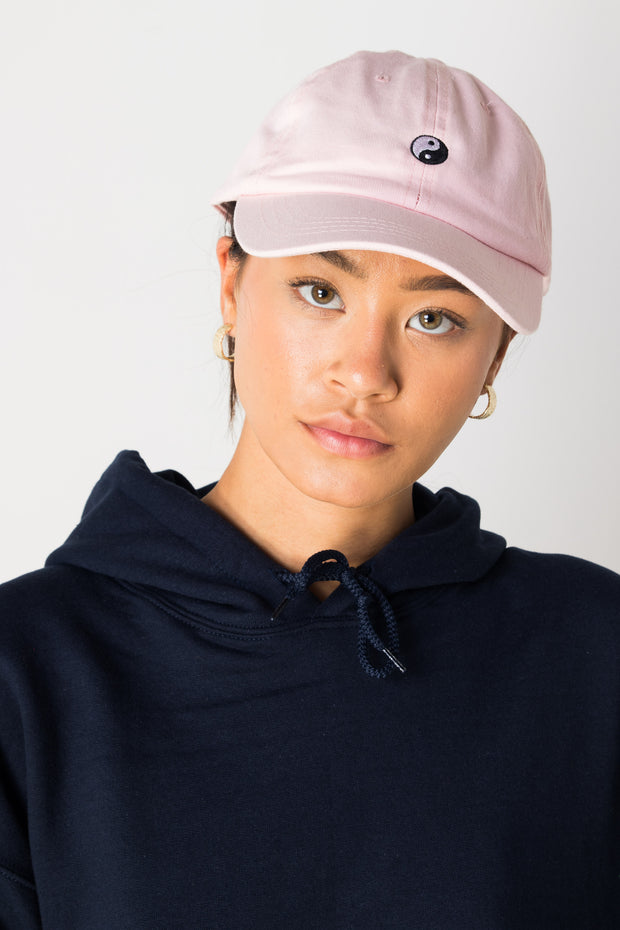 Daisy Street Pink Baseball Cap with Yin Yang Embroidery