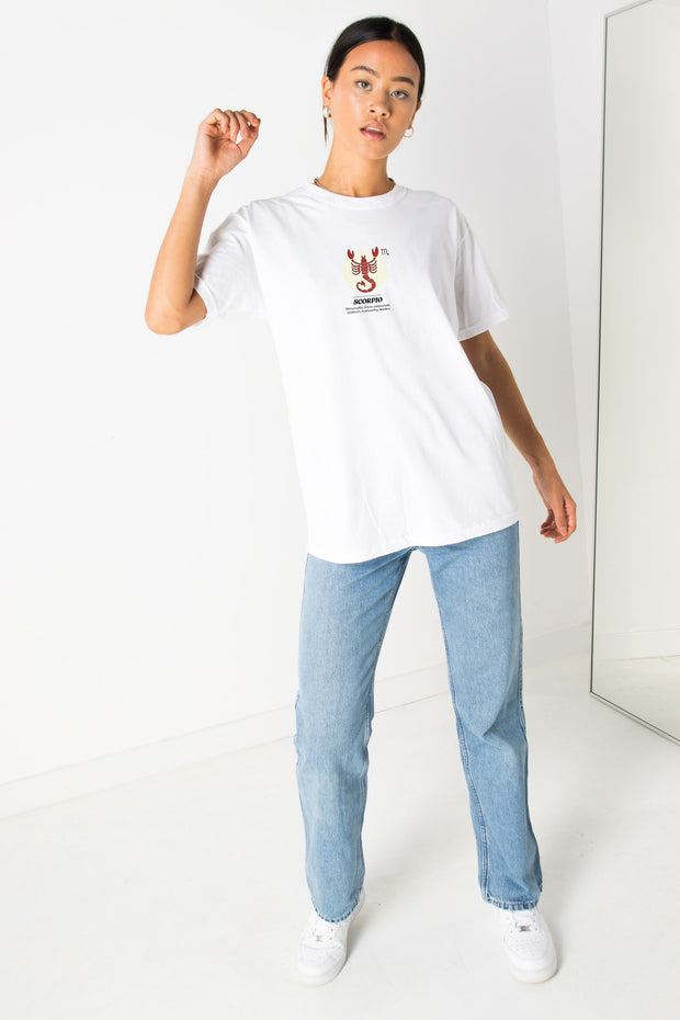 Daisy Street Relaxed T-Shirt with Scorpio Print