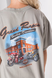 Daisy Street Vintage T-Shirt with Harley Davidson Grand Rapids Front and Back Print