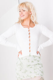 Daisy Street Cropped Cardigan with Pearl Buttons