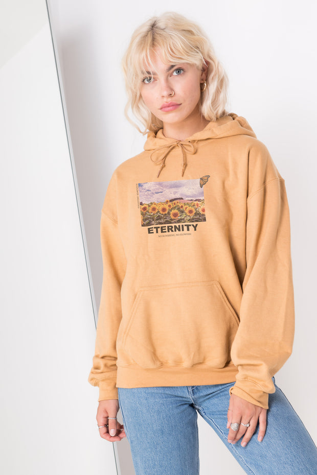 Daisy Street Oversized Hoodie with Eternity Sunflower Print