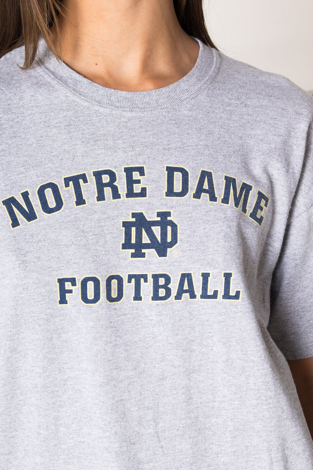 Daisy Street Vintage Adidas Grey T-Shirt with Notre Dame Football Print