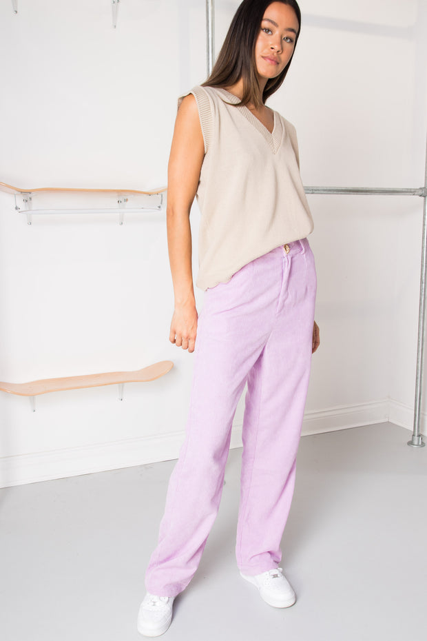Daisy Street Wide Leg Trousers in Lilac Cord