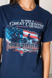 Daisy Street Vintage Harley Davidson T-Shirt with Great Country Print