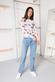Daisy Street Mesh Top in Butterfly Print