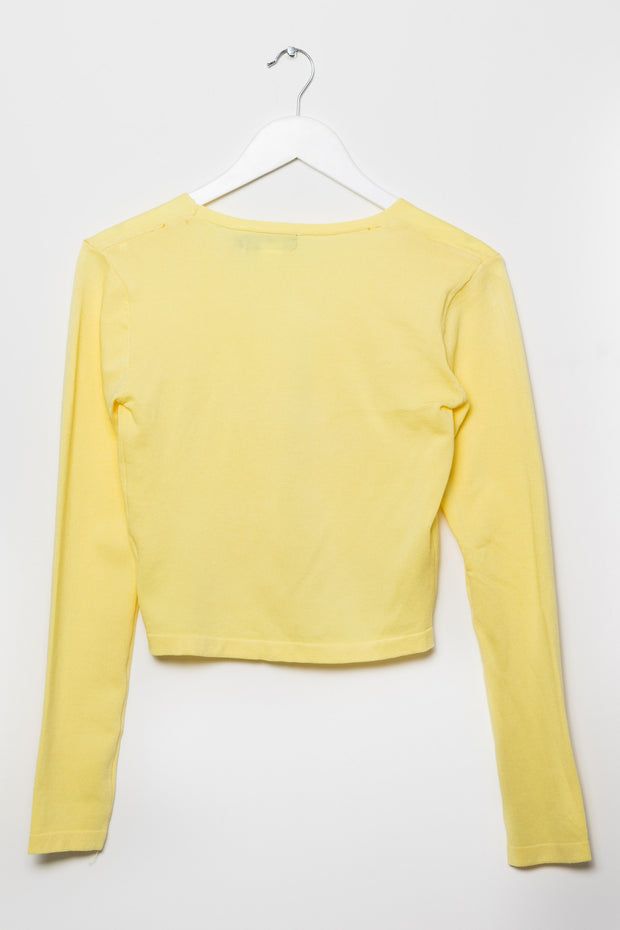 Daisy Street 90's Tie Front Cardigan in Yellow