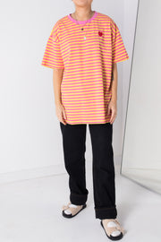 Daisy Street Relaxed T-Shirt with Heart Embroidery in Bright Stripe