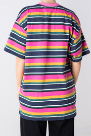 Daisy Street Relaxed T-Shirt in Retro Stripe with Daisy Embroidery