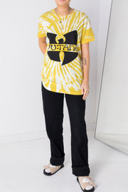 Daisy Street Relaxed Yellow Tie-Dye T-Shirt with Wu-Tang Print