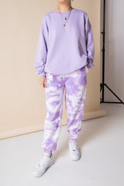 Daisy Street 90's Oversized Jogger in Purple Tie Dye