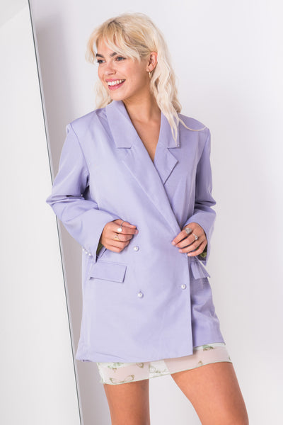 Daisy Street Relaxed Tailored Blazer with Pearl Buttons