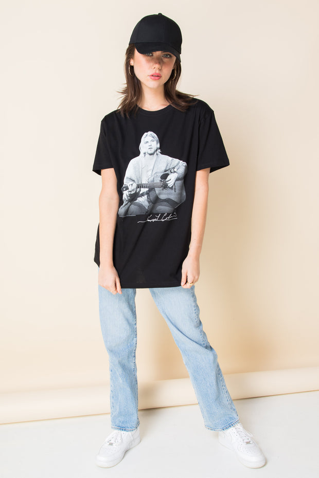 Daisy Street Relaxed T-Shirt with Kurt Cobain Print