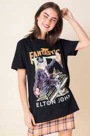 Daisy Street Relaxed T-Shirt with Elton John Print