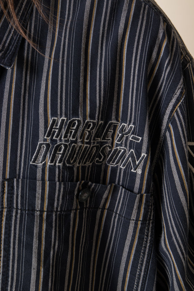 Daisy Street Vintage Harley Davidson Striped Short Sleeved Shirt