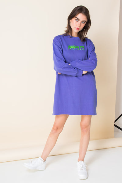 Daisy Street Relaxed Sweat Dress with Brooklyn Embroidery