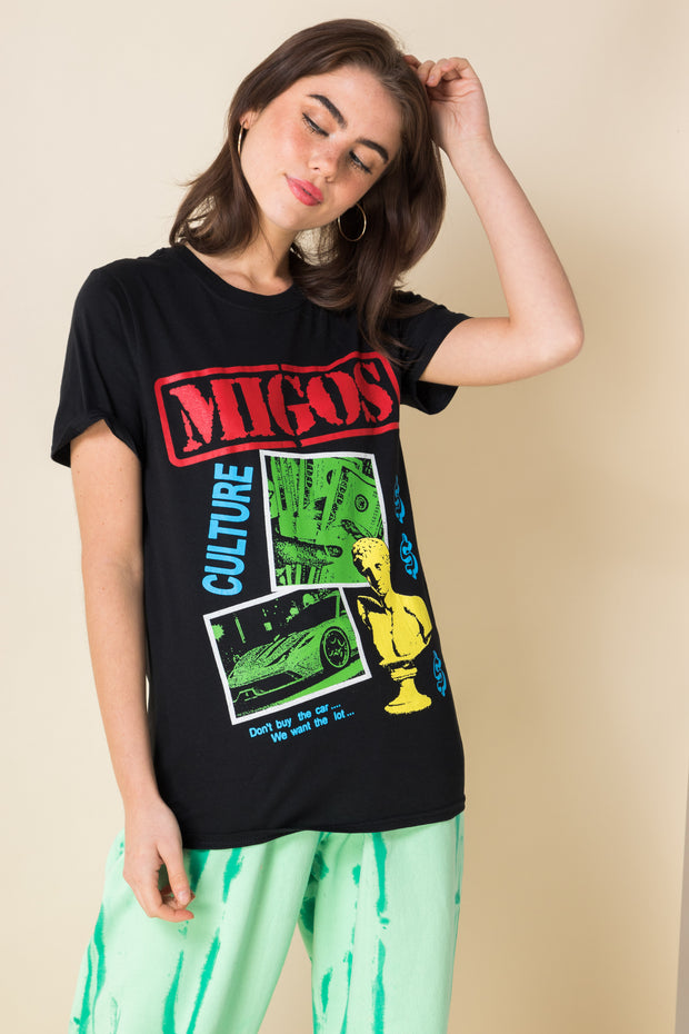 Daisy Street Relaxed T-Shirt with Migos Print