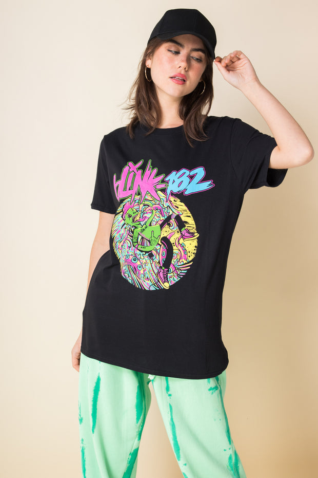 Daisy Street Relaxed T-Shirt with Blink 182 Print